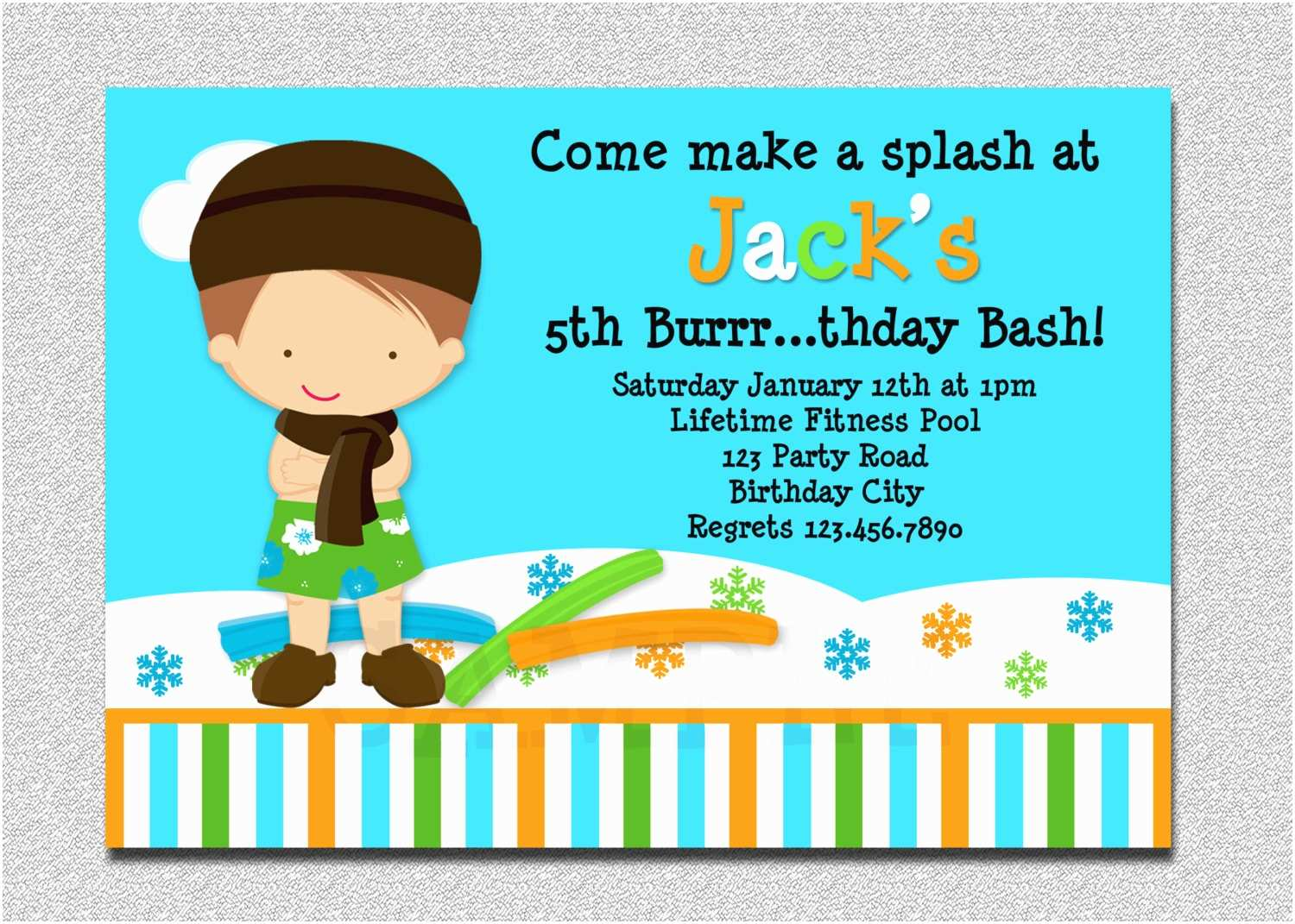 Swimming Party Invitations Indoor Pool Party Invitation Winter Pool Party Birthday
