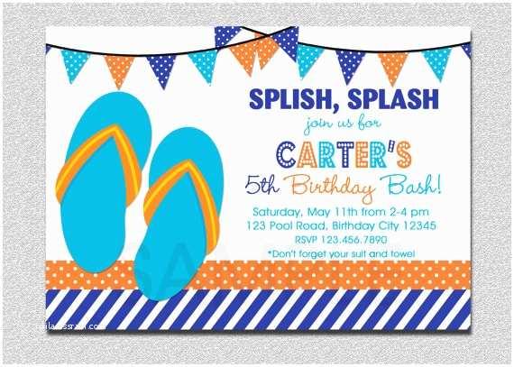 Swimming Party Invitations Items Similar To Boys Pool Invitation Flip