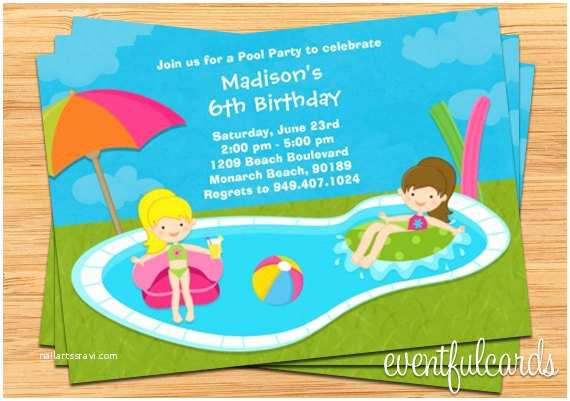 Swimming Party Invitations Kids Pool Party Birthday Invitation 5x7 Printable File