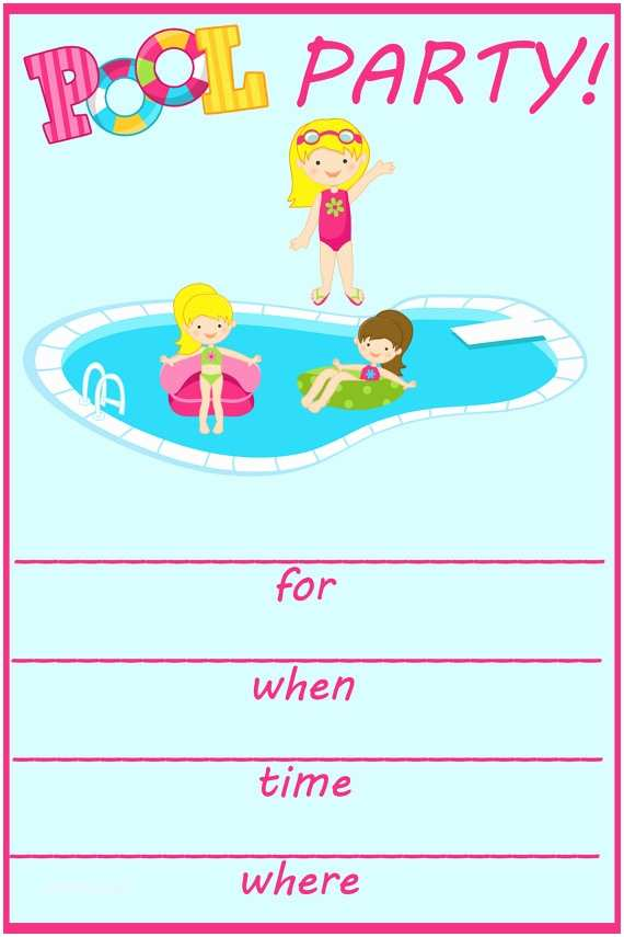 Swimming Party Invitations Pool Birthday Party Invitation – Gangcraft