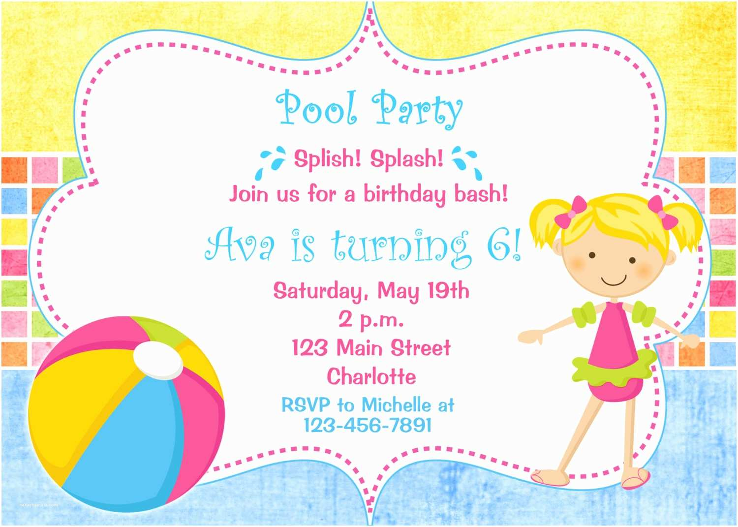 Swimming Party Invitations Pool Party Birthday Invitation Pool Party Pool toys