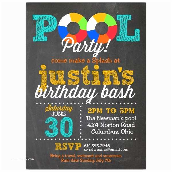 Swimming Party Invitations Pool Party Chalk Invitations