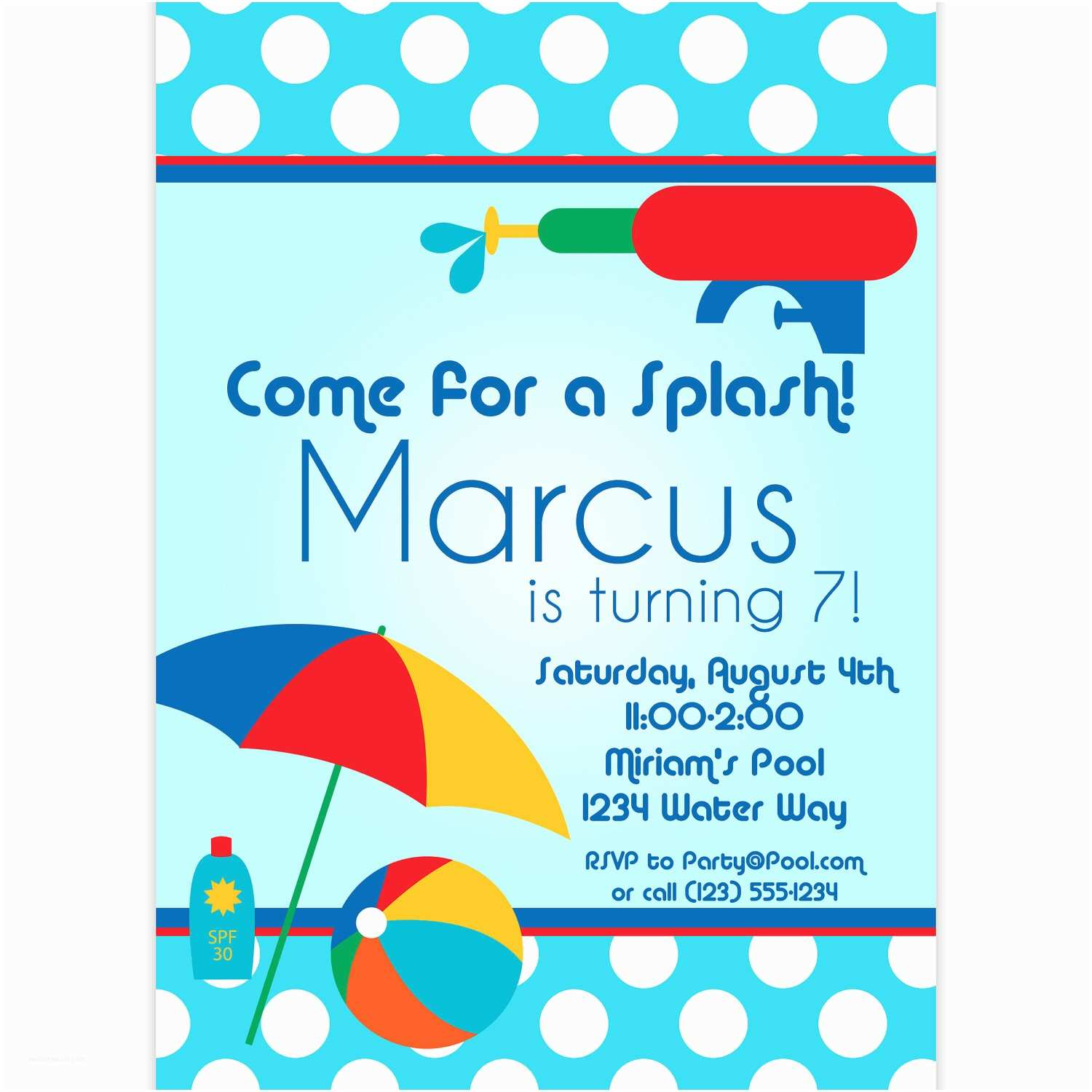 Swimming Party Invitations Pool Party Invitation Blue Polka Dots and Red Water Squirt