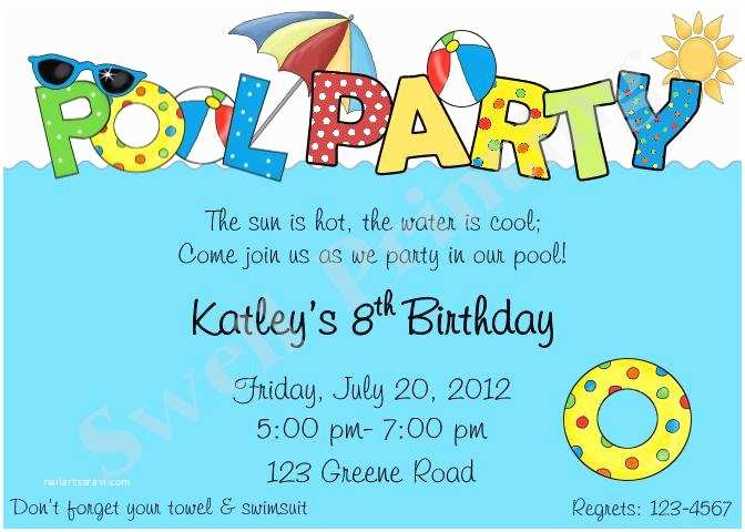 Swimming Party Invitations Pool Party Invitation Pool Birthday Invitation Swimming