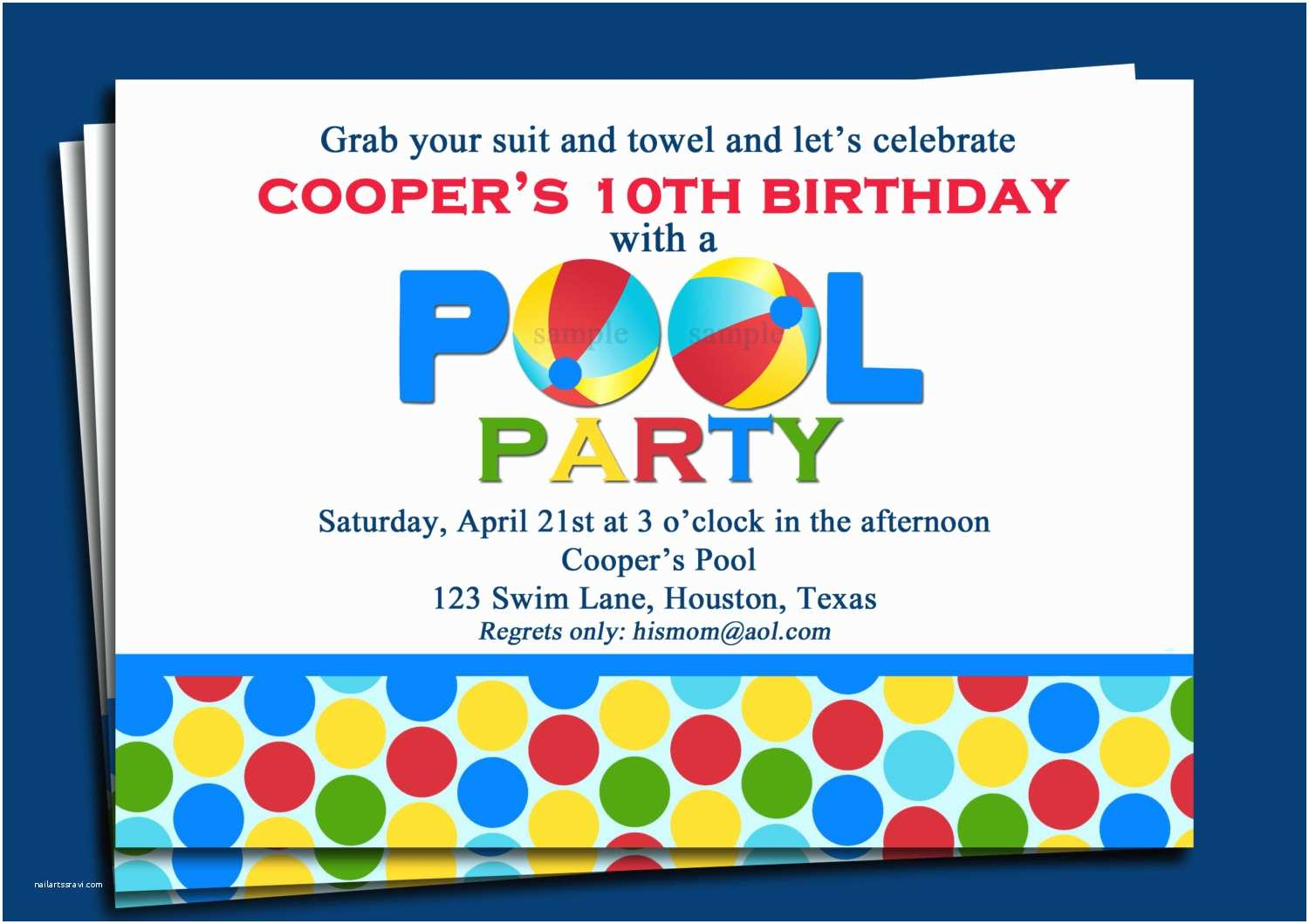 Swimming Party Invitations Pool Party Invitation Printable or Printed with Free Shipping