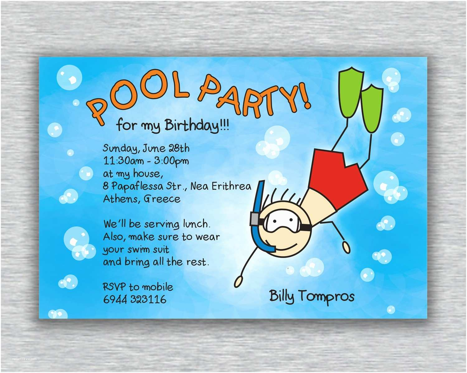Swimming Party Invitations Printable Boy Birthday Pool Party Invitation