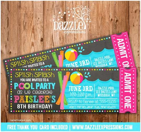 Swimming Party Invitations Printable Pool Party Chalkboard Ticket Birthday Invitation