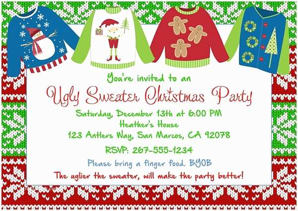 Tacky Christmas Sweater Party Invitation Wording Christmas Party Invitations Ugly Sweater