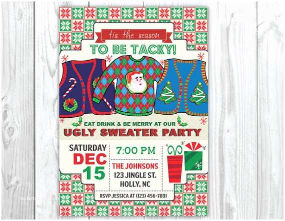 Tacky Christmas Sweater Party Invitation Wording Items Similar to Ugly Sweater Christmas Party Invitations
