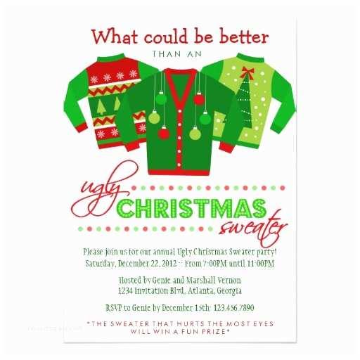 "Tacky Christmas Sweater Party Invitation Wording Ugly Christmas Sweater Holiday Party 5"" X 7"" Invitation"