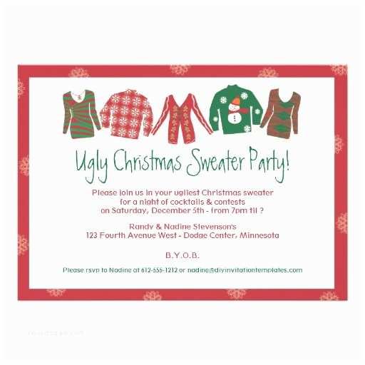 "Tacky Christmas Sweater Party Invitation Wording Ugly Christmas Sweater Party Invitation 5"" X 7"" Invitation"