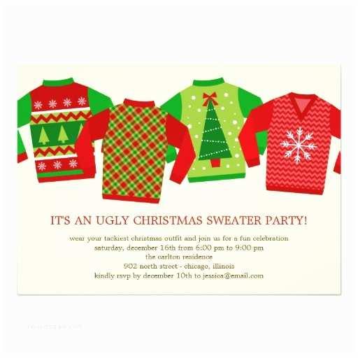 "Tacky Christmas Sweater Party Invitation Wording Ugly Christmas Sweaters Holiday Party Invitation 5"" X 7"