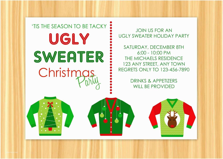 Tacky Christmas Sweater Party Invitation Wording Ugly Sweater Christmas Party Invitations