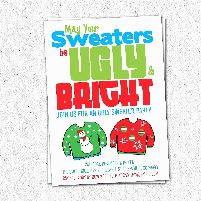 Tacky Christmas Sweater Party Invitation Wording Ugly Sweater Party Invitation Tacky Holiday Christmas