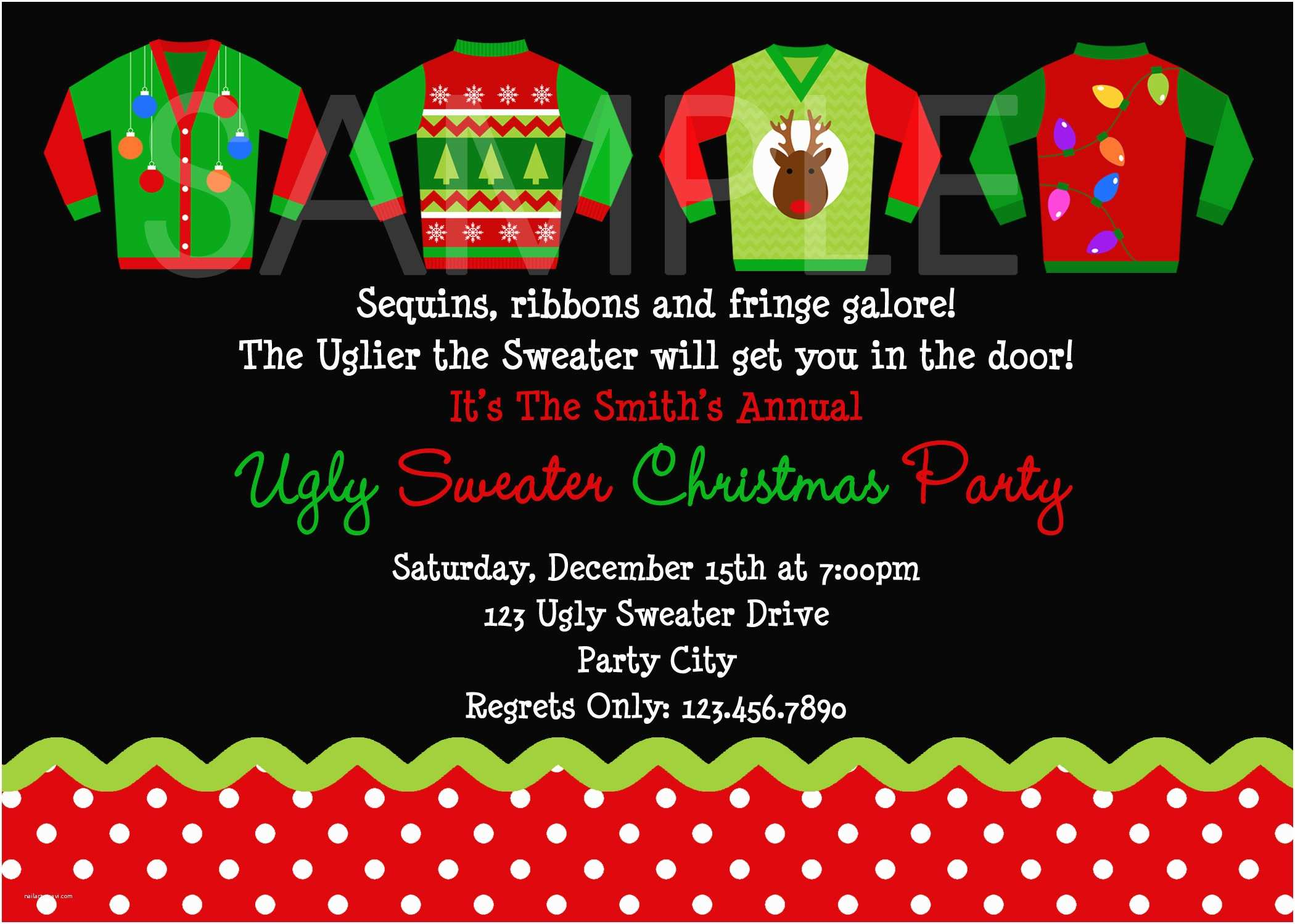 Tacky Christmas Sweater Party Invitation Wording Ugly Sweater Party Invitations