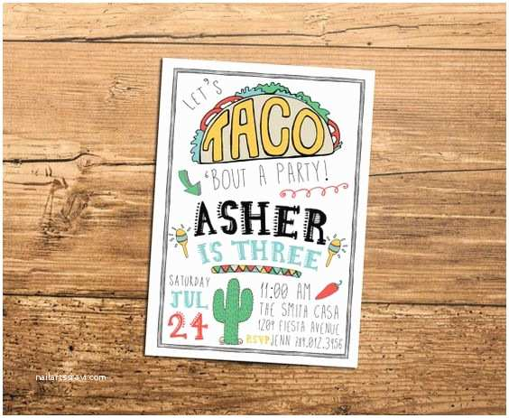 Taco Party Invitation Birthday Party Invitations Party Invitations and Taco