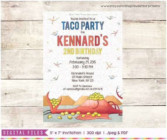Taco Party Invitation Dragons Love Tacos Invitation Printable Digital Print