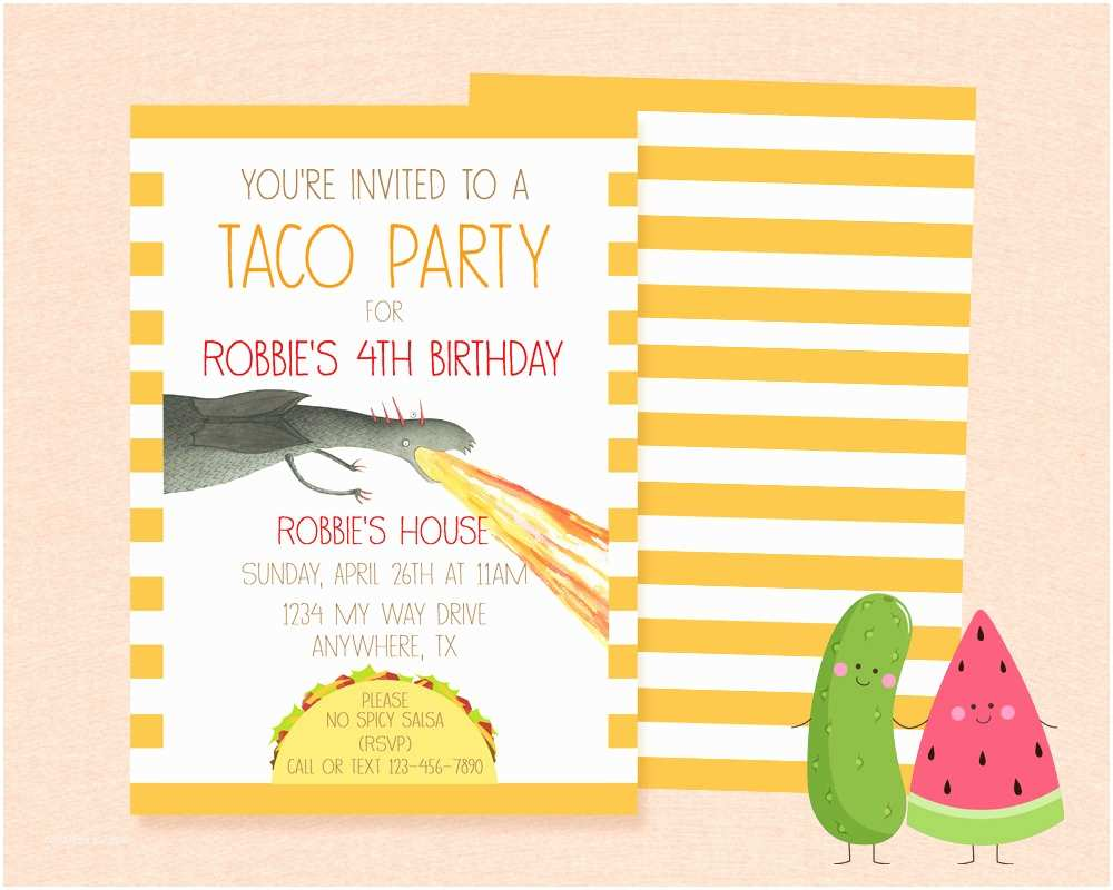 Taco Party Invitation Inspired Dragons Love Tacos Invitation Birthday Party