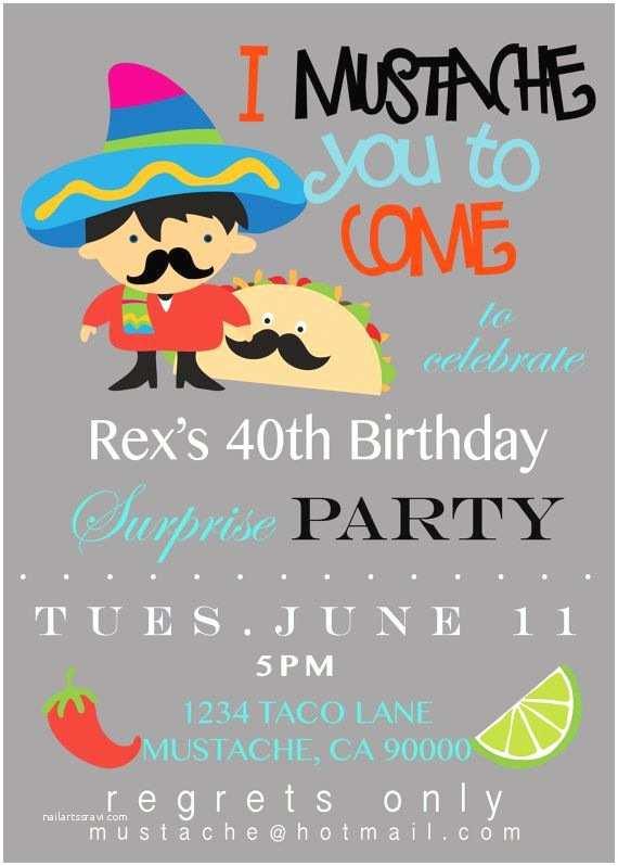 Taco Party Invitation Mustache Taco Party Invitation Customizable