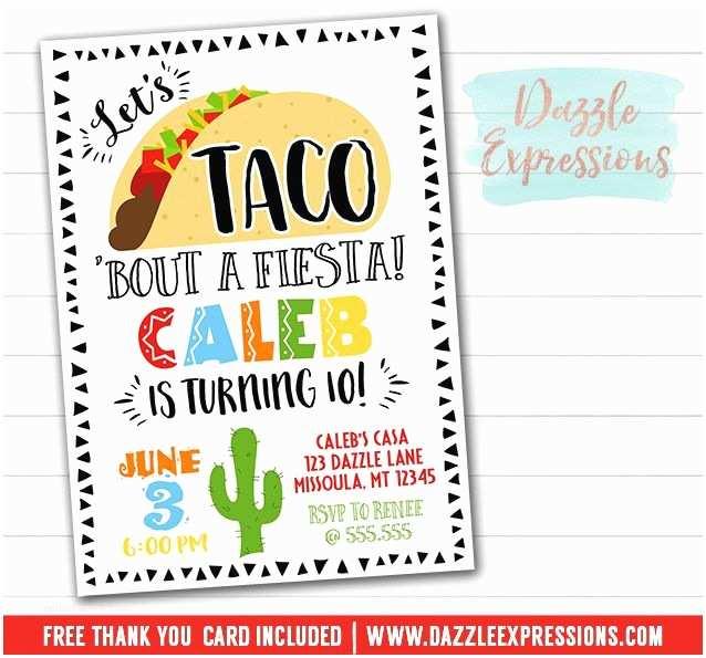 Taco Party Invitation Printable Taco Party Birthday Invitation