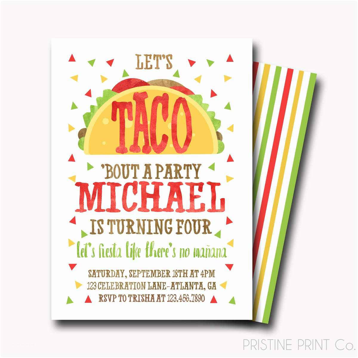 Taco Party Invitation Taco Birthday Invitation Fiesta Birthday Invitation Fiesta