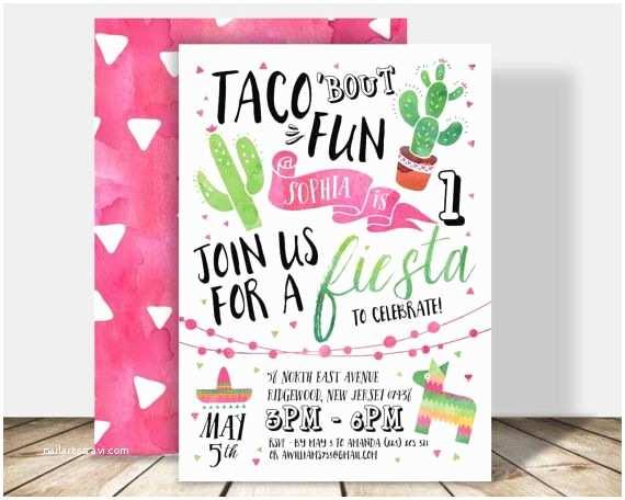 Taco Party Invitation Taco Bout Fun Fiesta Birthday Party Invitation 5x7