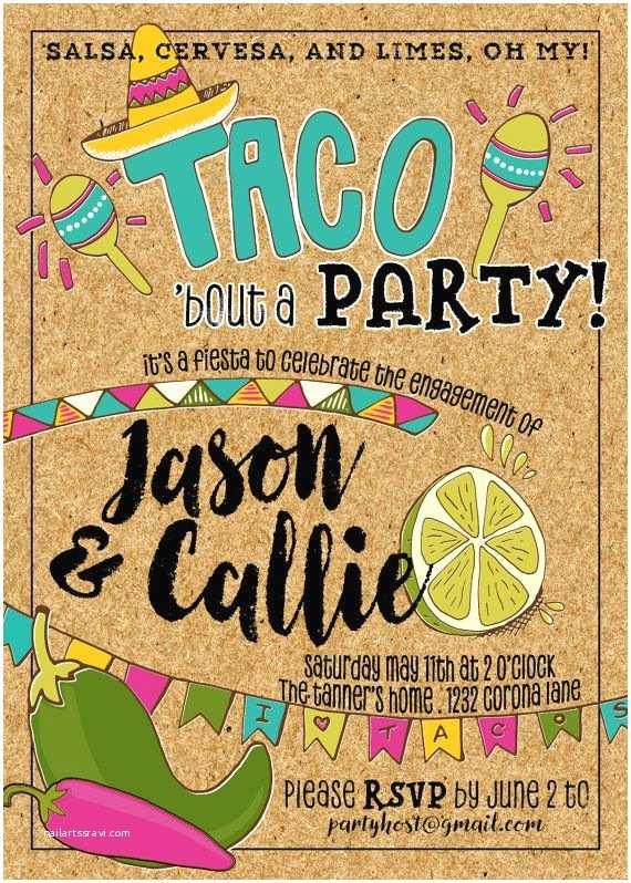 Taco Party Invitation Taco Fiesta Party Invitation Engagement Anniversary