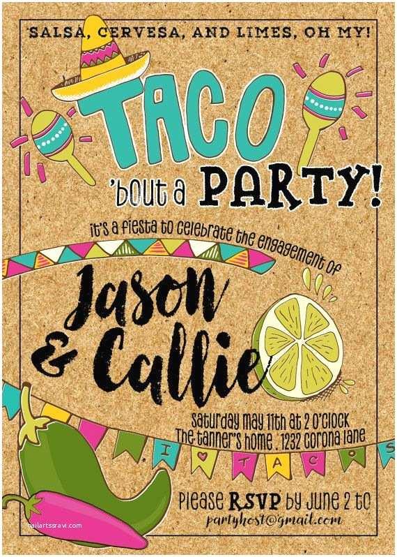 Taco Party Invitation Taco Fiesta Party Invitation Engagement Anniversary