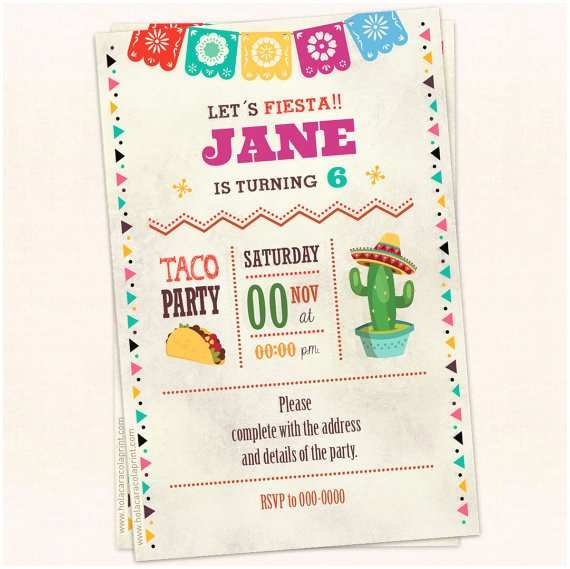 Taco Party Invitation Taco Party Invitation Birthday Invitation Instant