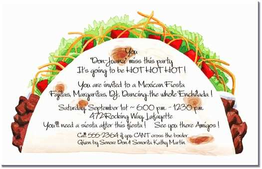 Taco Party Invitation Taco Party Invitations Mexican Food Cinco De Mayo Invite