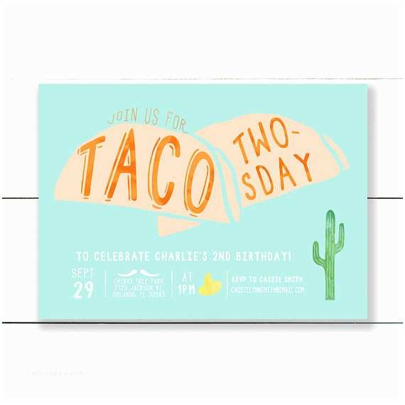 Taco Party Invitation Taco Twosday Birthday Invitation Taco Birthday Party