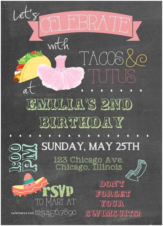 Taco Party Invitation Tacos and Tutus Birthday Party Invitation Diy or