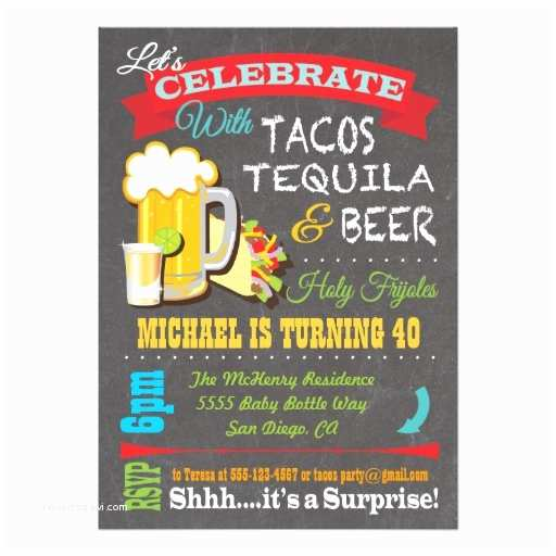 Taco Party Invitation Tacos Tequila and Beer Fiesta Party Invitation