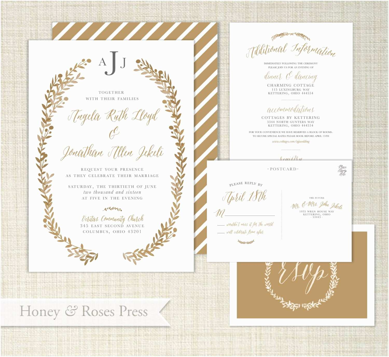 Tagline for Wedding Invitation Gold Wedding Invitation Gold Wreath Wedding Invite