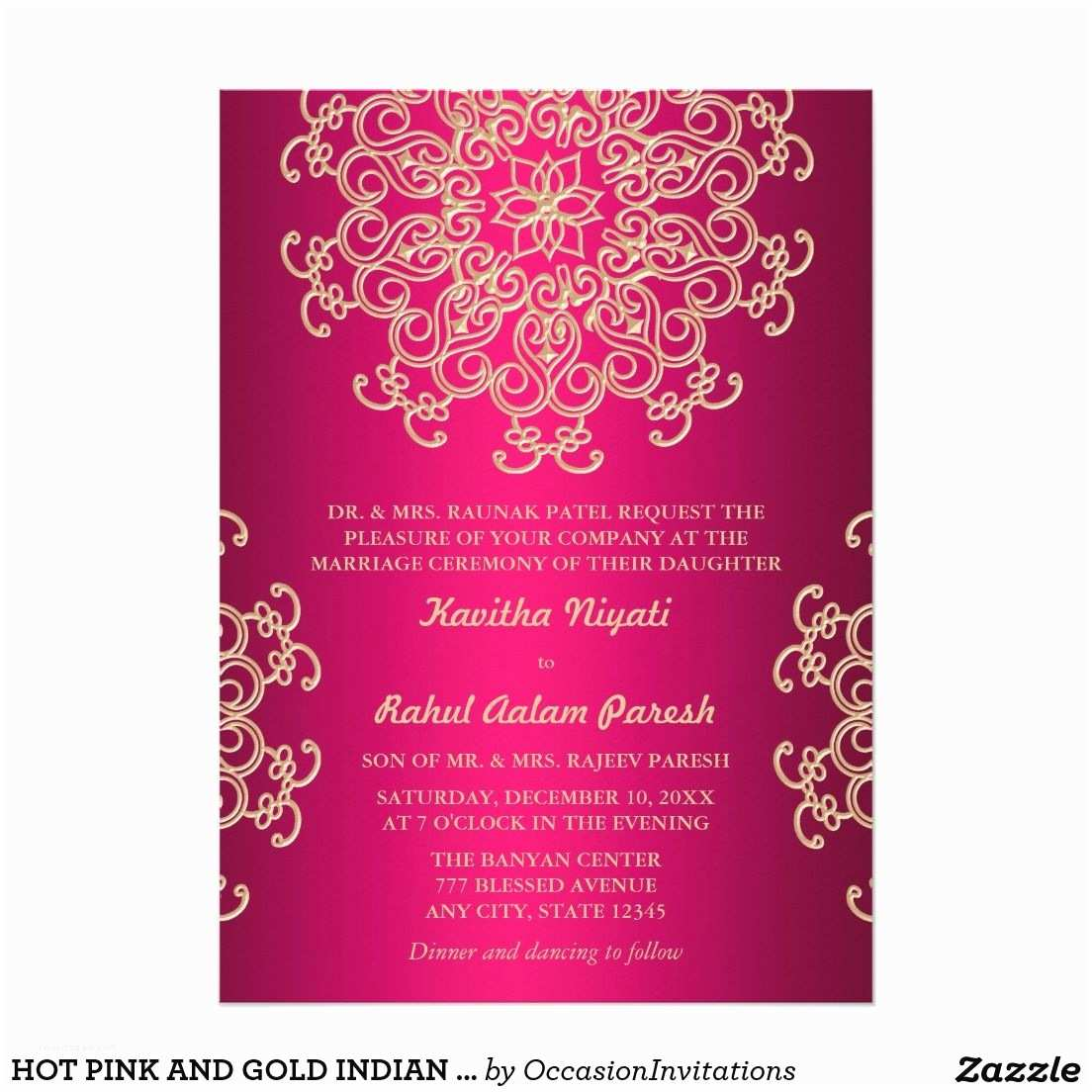 Tagline for Wedding Invitation Hot Pink and Gold Indian Style Wedding Invitation