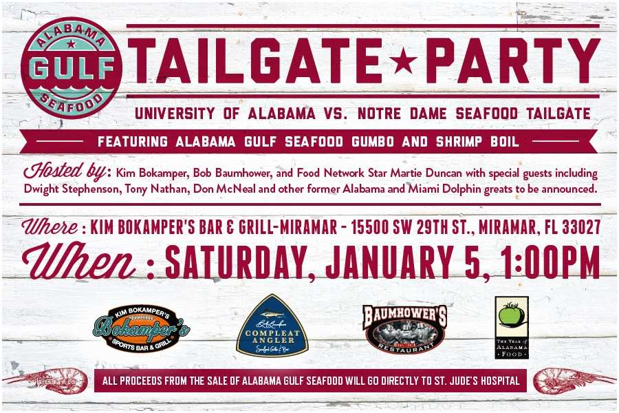 Tailgate Party Invitation Alabama Seafood Tailgate at the Bcs National Championship