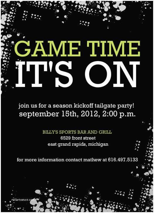 Tailgate Party Invitation Black Tailgate Party Football Invitation