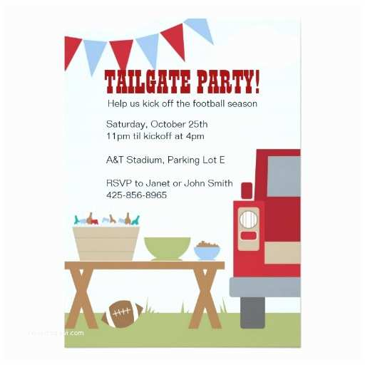 """Tailgate Party Invitation Tailgate Football Party Invitation 5"""" X 7"""" Invitation"""