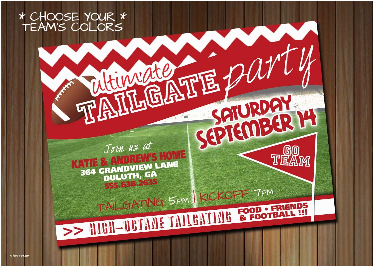 Tailgate Party Invitation Tailgate Party Football Party Choose Your Team