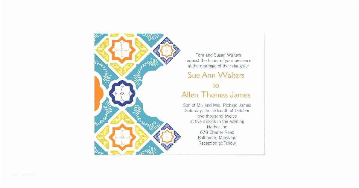 Talavera Wedding Invitations Mexican Talavera Tile Wedding Invitation Teal