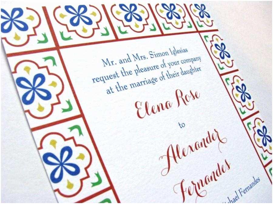 mexican tile talavera wedding invitations