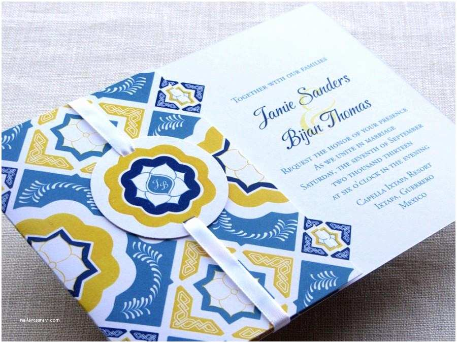 Talavera Wedding Invitations Mexican Tile Wedding Invitation Sample Talavera Monogram