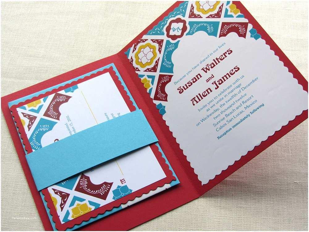 Talavera Wedding Invitations Mexican Wedding Invitation Talavera Tile Folded by Imbueyouido