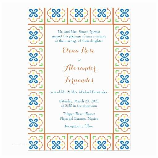 Talavera Wedding Invitations Talavera Spanish Tile Wedding Invitation