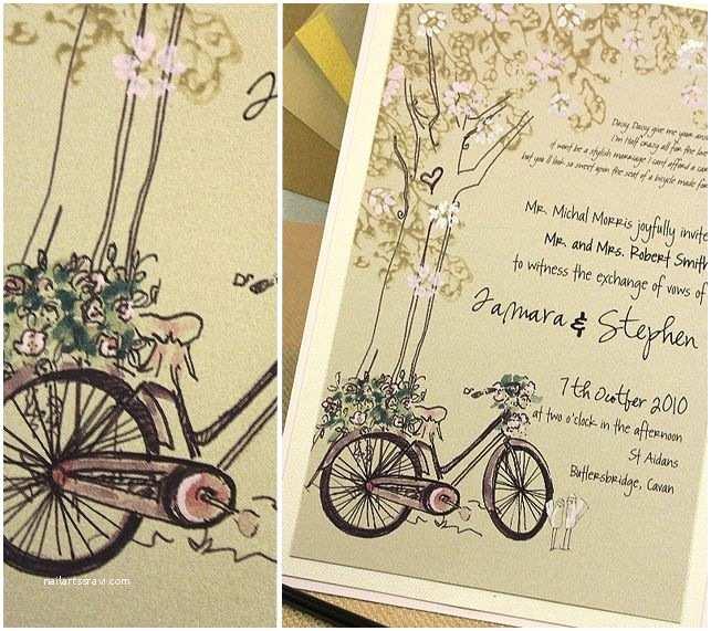 Tandem Wedding Invitations Bicycle Wedding Invitation Brown and Ivory Wedding Tree