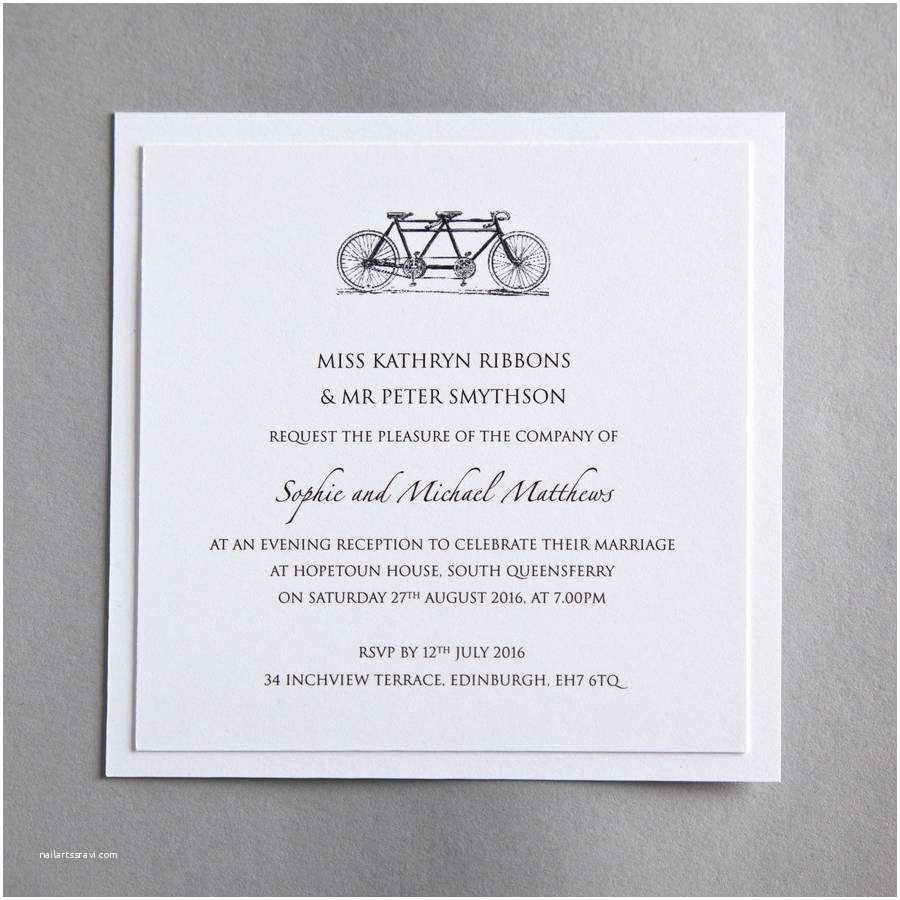 Tandem Wedding Invitations Tandem Bicycle Wedding Invitation by Twenty Seven