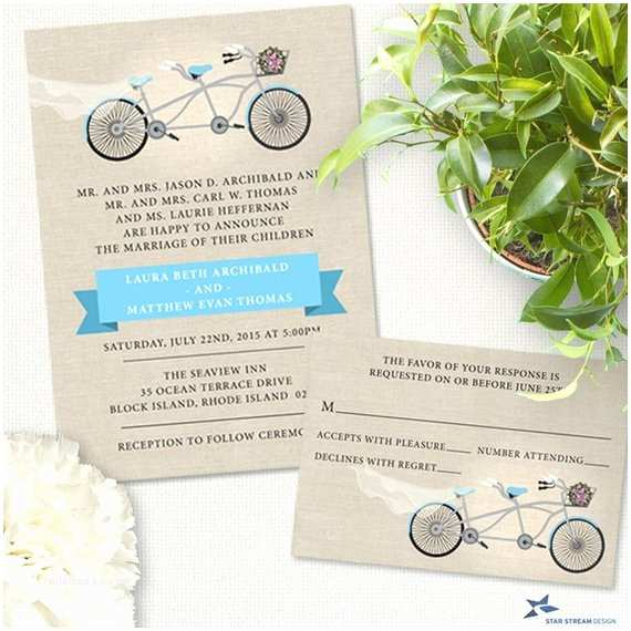 Tandem Wedding Invitations Tandem Bicycle Wedding Stationery Set Invitation and Rsvp