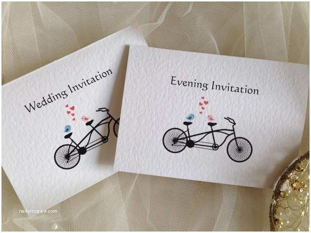 Tandem Wedding Invitations Tandem Bike Wedding Invitations