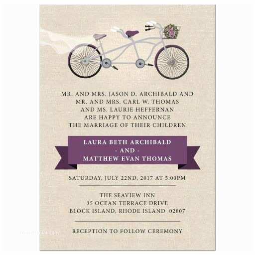 Tandem Wedding Invitations Wedding Invitation Plum Tandem Bicycle