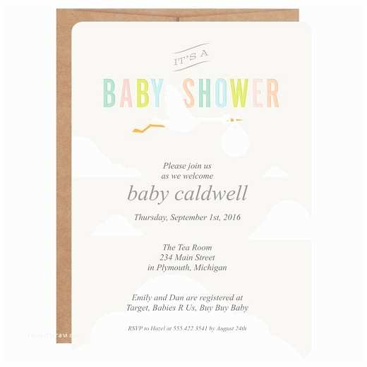 Target Baby Shower Invitations Inklings Paperie Gray Stork Print On Baby Shower